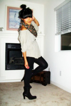 Elizabeth & James top - vintage scarf - Damsel leggings - Nine West boots