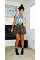 Forever21 top - vintage skirt - Old Navy vest - forever 21 belt - sam edelman bo
