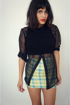 crop top asos top - plaid skirt vintage skirt