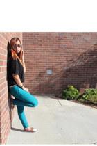 black t-shirt Guess shirt - turquoise blue colored pants papaya pants