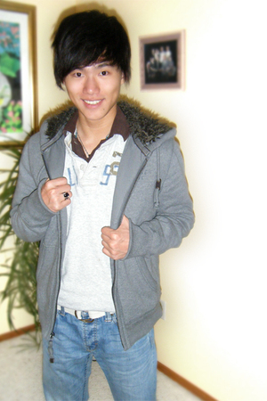 gray American Eagle jacket - brown abercrombie & fitch shirt - white hollister s