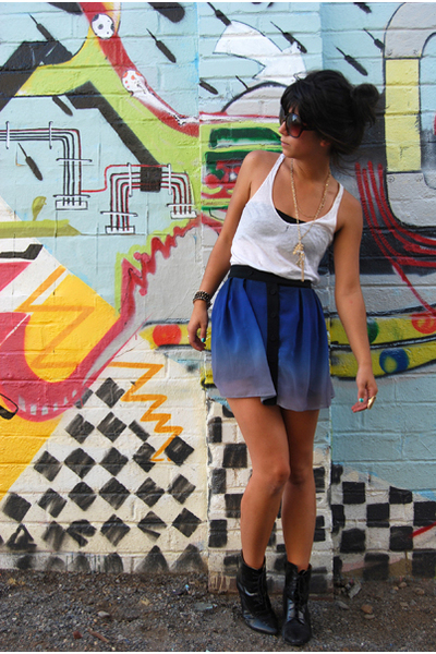 blue Target skirt - black H&M boots - white abercrombie & fitch shirt