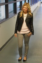 sam edelman shoes - Old Navy jeans - danier jacket - Old Navy sweater