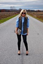 H&M bag - Aldo shoes - all day apparel shirt - Karen Walker sunglasses