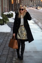Zara skirt - Browns boots - f21 shirt - Joe Fresh tights - Prada bag