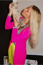 yellow tulip skirt Forever 21 skirt - hot pink neon cardigan Forever 21 sweater