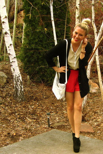 Forever 21 boots - Forever 21 shorts - thrifted cardigan