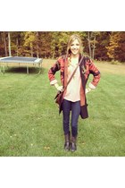 black free people cardigan - charcoal gray studded Frye boots