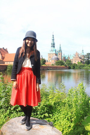 black mini blazer - gray H&M hat - chiffon blouse - carrot orange H&M skirt
