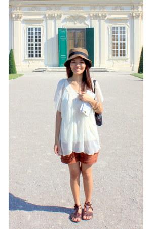 brown vintage strappy sandals - dark brown crochet hat - dark brown cargo shorts