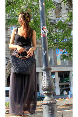 black tote bag - charcoal gray chiffon skirt - silver flats - black cotton top