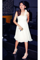 white strappy heels - white cocktail dress - light purple flower necklace