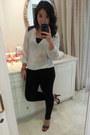 Black-zara-leggings-gold-marc-by-marc-jacobs-watch-white-zara-blouse