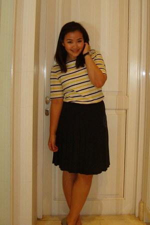 yellow worn as a top Muji dress - black vintage skirt