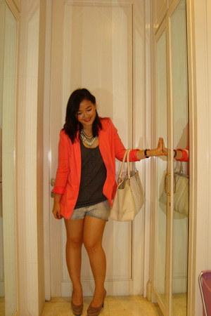 tan Bruno Premi heels - coral H&M blazer - white Zara bag