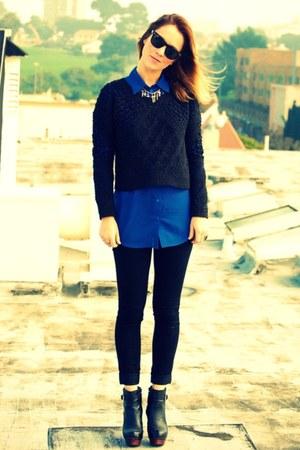 black Nyla boots - black dl1961 jeans - black All Saints sweater - blue H&M top