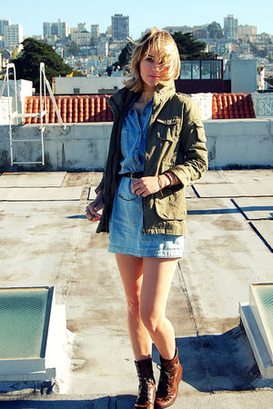 blue Fidelity Denim dress - green H&M jacket - brown Urban Outfitters boots - br