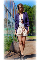 gray free people blazer - silver free people top - beige H&M shorts - black Stev