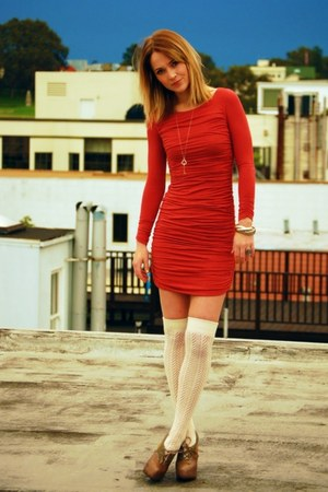 ivory Forever 21 socks - coral ls mini dress Rachel Pally dress