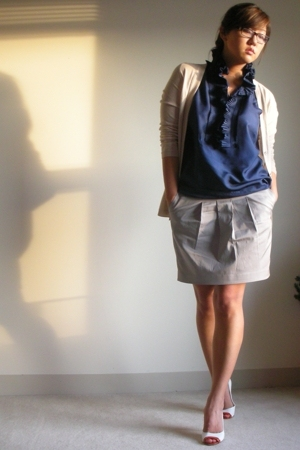 JCrew sweater - Club Monaco skirt - JCrew blouse - Dolce & Gabbana shoes