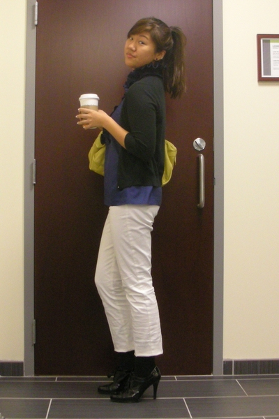 banana republic sweater - JCrew blouse - JCrew pants - Tahari shoes - Marc by Ma