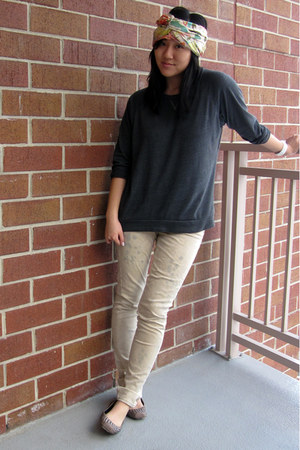 JCrew scarf - beige Seven For All Mankind jeans - gray nation top