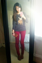 gray JCrew sweater - tawny Jeffrey Campbell shoes - maroon Joes Jeans jeans