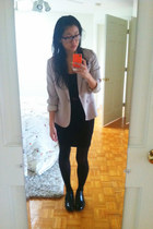 beige JCrew blazer - black CHURCHS shoes - black H&M dress - maroon belt