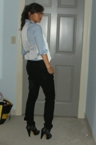 lux uo vest - Helmut Lang pants - JCrew shirt - Steve Madden shoes