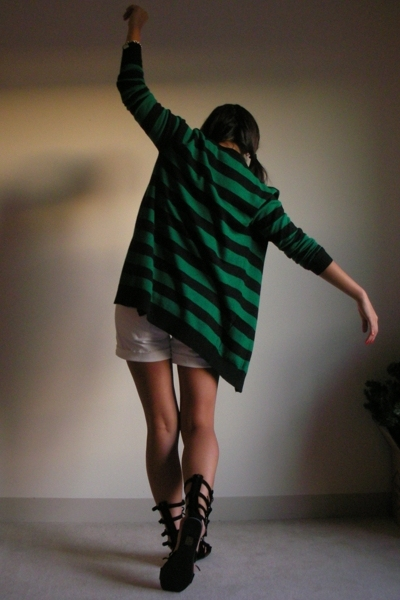 UO sweater - Alexander Wang shirt - Madewell 1937 shorts - Jeffrey Campbell shoe