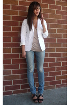 Express blazer - banana republic top - Adriano Goldschmied jeans - Zara shoes