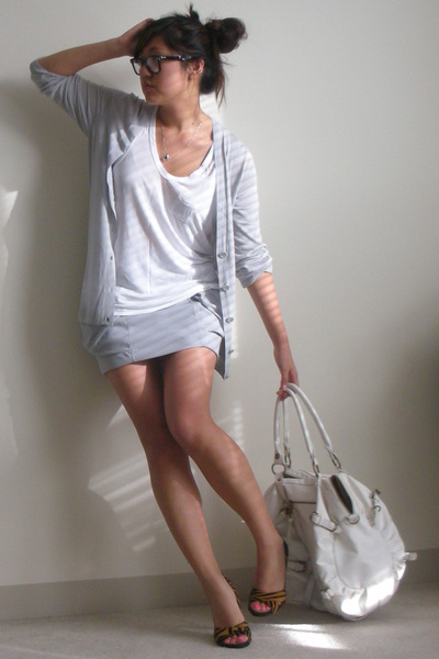 gray Plastic Island skirt - orange Michael Kors shoes - gray JCrew sweater