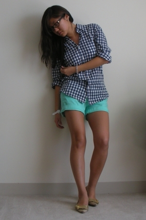 gold Cole Haan shoes - blue JCrew shirt - green JCrew shorts
