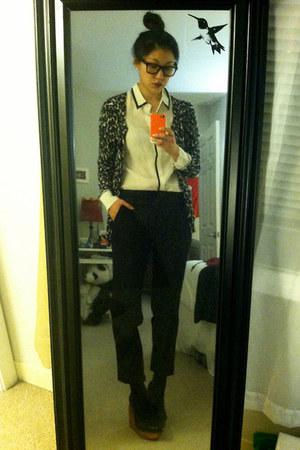 silk JCrew shirt - leopard ann taylor cardigan - Theyskens Theory pants
