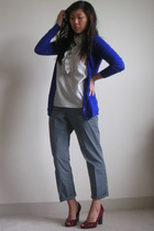 Theory sweater - JCrew blouse - Theory pants - Cole Haan shoes