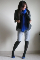 blue Club Monaco scarf - blue Zara shoes - gray Brooks Brothers blazer