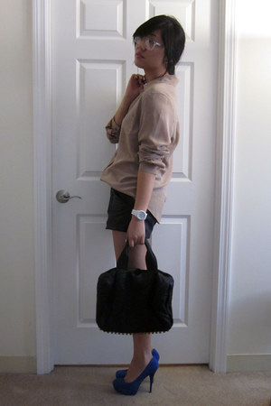 black leather kimchi and blue shorts - blue Bakers shoes - tan silk trouve shirt