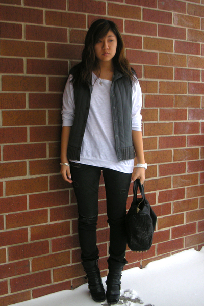 black AG jeans - black Alexander Wang accessories - white madewell shirt - black