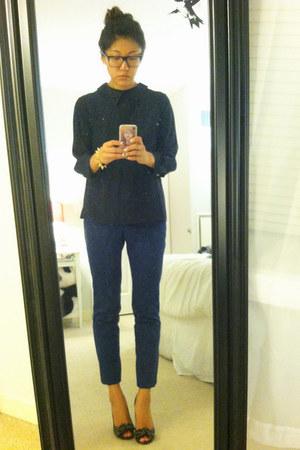 Marc Jacobs blouse - peep toe stuart weitzman pumps - ALC pants