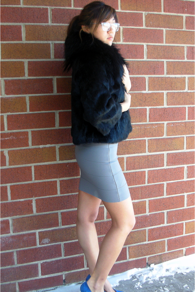 silver BCBG skirt - blue Zara shoes - black adrienne landau jacket