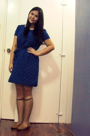 blue Forever 21 dress - light brown stockings - burnt orange loafers