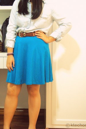 H&M blouse - vintage belt - Forever 21 skirt