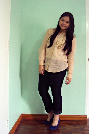 blue Payless wedges - beige Zara blouse - gold apostrophe necklace