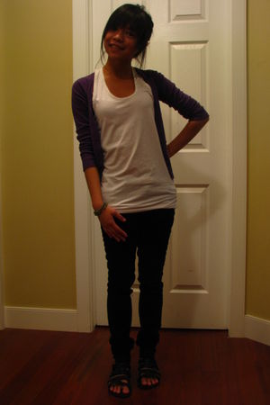 purple H&M cardigan - black dylan george jeans - black Spring shoes