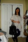 White-h-m-shirt-blue-garage-leggings-black-suzy-shier-boots-black-purse-