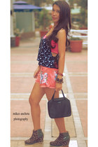 denim I MADE IT shorts - nylon calista kate spade bag - cotton tube bra