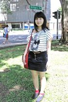 white Zara t-shirt - blue Zara skirt - black Aldo shoes - red gmarket socks - re