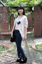 pink Forever 21 top - blue Cheap Monday jeans - black korea shoes - black