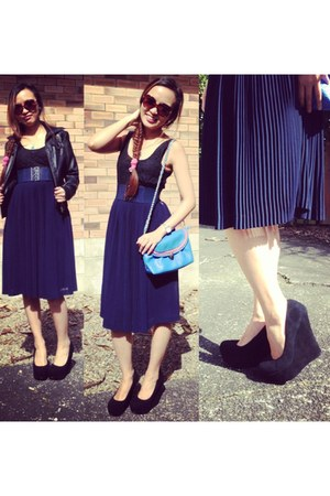 black black pumps pulp noir wedges - navy thrifted skirt