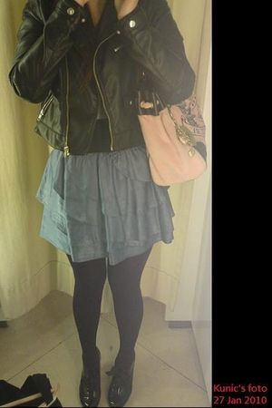 black H&M jacket - blue Zara dress - purple leggings - black Viva Violet shoes -